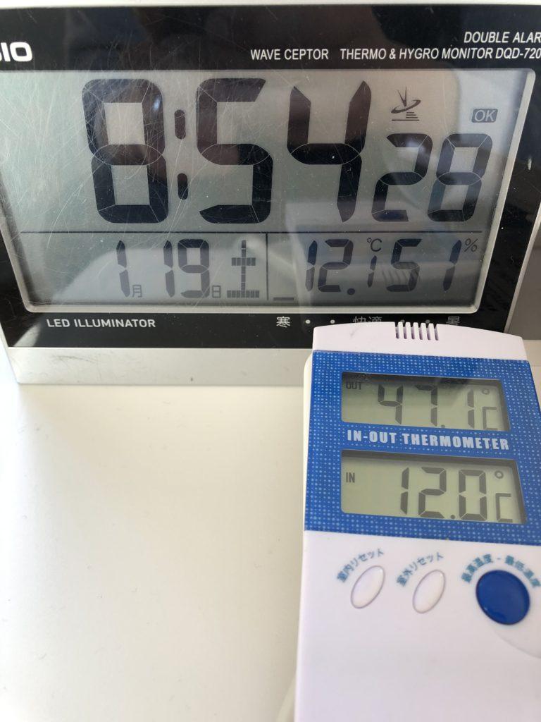 外気温が約12度に対し、布団内部が47度。50度までもう少しですね。